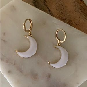 BOGO! White Moon Charm Huggie Earrings